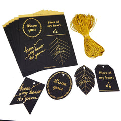 Golden Text Black Card Gift Tags with Gold String for Shop Wrapping Packaging, Pack of 24