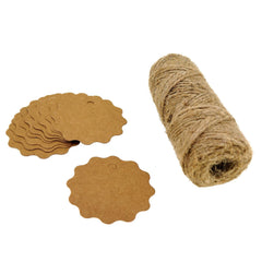 Flower Kraft Paper Gift / Price Tags with Jute Twine for Gift Wrapping Packaging, Set of 50