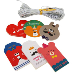 Cute Cartoon Tags with Silver String for Party Gift Wrapping Packaging, Pack of 48, Mix of 6 Design