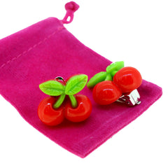 Big Red Cherry Clip-on Stud Earrings for Kids Teenage Girls Daughter Party Gift
