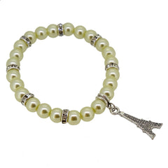HoneyDew Color Glass Pearl Beads with Crystal Spacer and Eiffel Tower Charm Bracelet