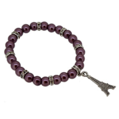 Grayish Purple Color Glass Pearl Beads with Crystal Spacer and Eiffel Tower Charm Bracelet
