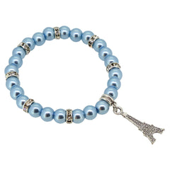 Light Blue Color Glass Pearl Beads with Crystal Spacer and Eiffel Tower Charm Bracelet