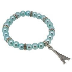 Light Cyan Color Glass Pearl Beads with Crystal Spacer and Eiffel Tower Charm Bracelet