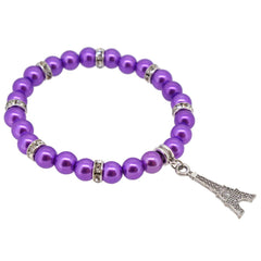 Dark Orchid Color Glass Pearl Beads with Crystal Spacer and Eiffel Tower Charm Bracelet