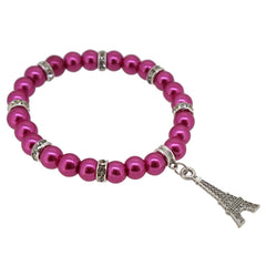 Pale Violet Red Color Glass Pearl Beads with Crystal Spacer and Eiffel Tower Charm Bracelet
