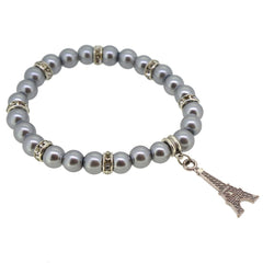 Silver Color Glass Pearl Beads with Crystal Spacer and Eiffel Tower Charm Bracelet