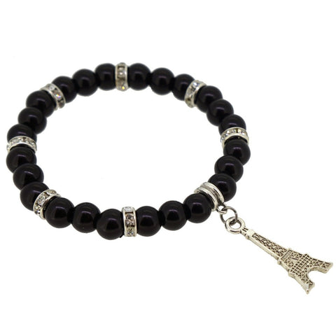 Black Color Glass Pearl Beads with Crystal Spacer and Eiffel Tower Charm Bracelet