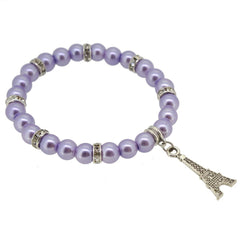Lavender Color Glass Pearl Beads with Crystal Spacer and Eiffel Tower Charm Bracelet