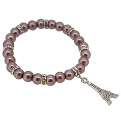Rosy Brown Color Glass Pearl Beads with Crystal Spacer and Eiffel Tower Charm Bracelet