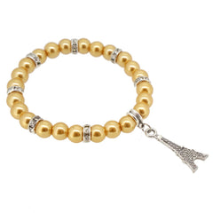 Khaki Color Glass Pearl Beads with Crystal Spacer and Eiffel Tower Charm Bracelet