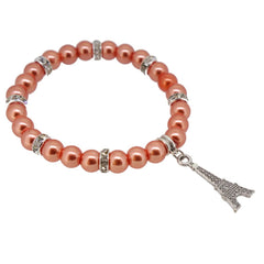 Coral Color Glass Pearl Beads with Crystal Spacer and Eiffel Tower Charm Bracelet