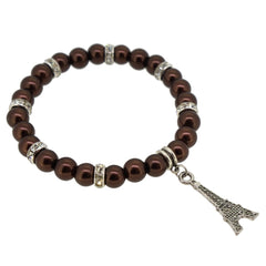 Saddle Brown Color Glass Pearl Beads with Crystal Spacer and Eiffel Tower Charm Bracelet