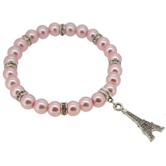 Pink Color Glass Pearl Beads with Crystal Spacer and Eiffel Tower Charm Bracelet