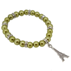 Yellow Green Color Glass Pearl Beads with Crystal Spacer and Eiffel Tower Charm Bracelet
