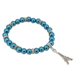 Teal Color Glass Pearl Beads with Crystal Spacer and Eiffel Tower Charm Bracelet