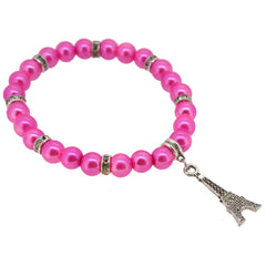 Hot Pink Color Glass Pearl Beads with Crystal Spacer and Eiffel Tower Charm Bracelet