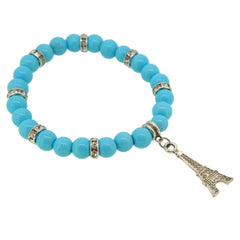Deep Skyblue Color Glass Pearl Beads with Crystal Spacer and Eiffel Tower Charm Bracelet