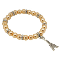 Lemon Chiffon Color Glass Pearl Beads with Crystal Spacer and Eiffel Tower Charm Bracelet