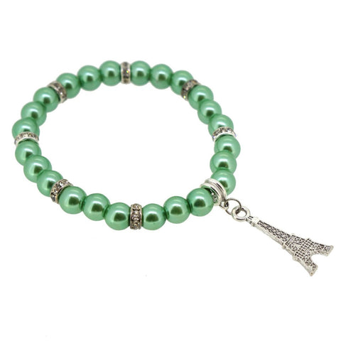 Aquamarine Color Glass Pearl Beads with Crystal Spacer and Eiffel Tower Charm Bracelet