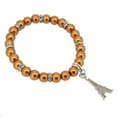 Peru Color Glass Pearl Beads with Crystal Spacer and Eiffel Tower Charm Bracelet
