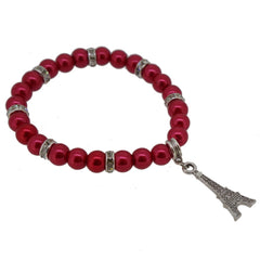 Crimson Color Glass Pearl Beads with Crystal Spacer and Eiffel Tower Charm Bracelet