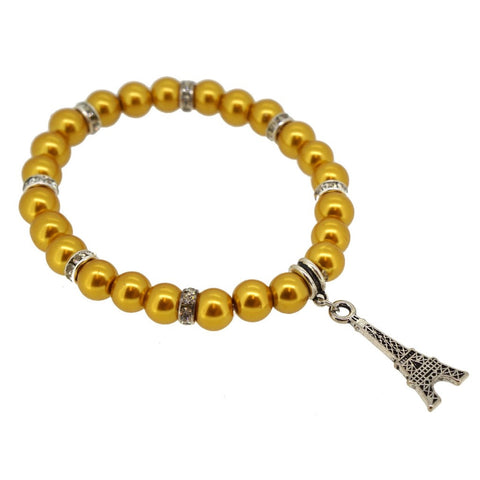 Gold Color Glass Pearl Beads with Crystal Spacer and Eiffel Tower Charm Bracelet