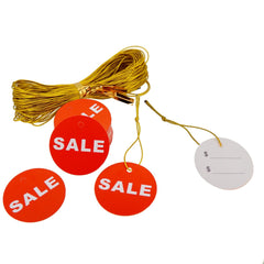 45mm Red Round Sale Price Tag with golden string for Shop Promotion, Pack of 48