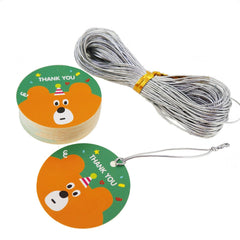Cute Cartoon Round Tags with Thank You Message with Silver String for Party Gift Packaging x48