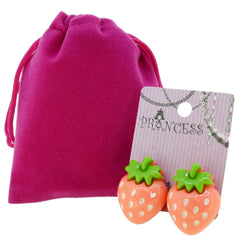 Big Strawberry Clip-on Stud Earrings for Kids Teenage Girls Daughter Party Gift
