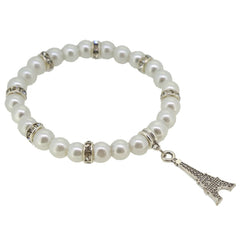 White Color Glass Pearl Beads with Crystal Spacer and Eiffel Tower Charm Bracelet