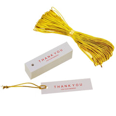 Thank You Tag with Golden String Thread for Gift Shop Wrapping Packaging, Pack of 48