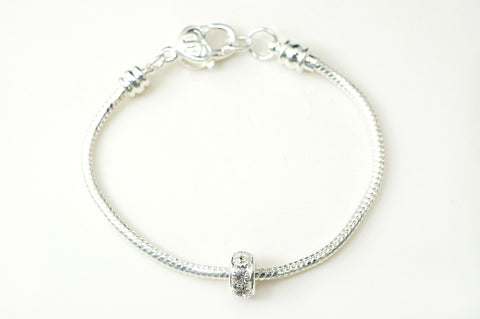 Silver Plated Snake Bracelet with One European 10mm Crystal Bead Fit Pandora, Chamilia, And Many Other