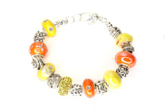 Silver Plated Bracelet with 16 European Bead, Yellow and Orange Color Set Fit Pandora And Many Other