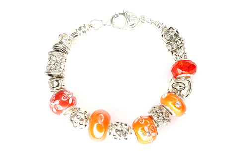 Silver Plated Bracelet with 16 European Bead, Orange Color Set Fit Pandora, Chamilia, Biagi, Zable, Troll, And Many Other