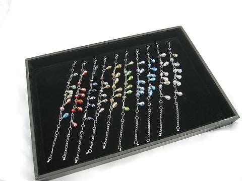 Wholesale Lot of 10 Color Crystal Fashion Jewelry Charm Bracelets (Style A)