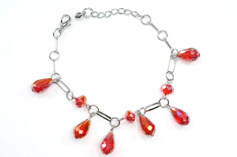 Red Color Crystal Fashion Jewelry Charm Bracelet