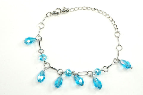 Aqua Color Crystal Fashion Jewelry Charm Bracelet