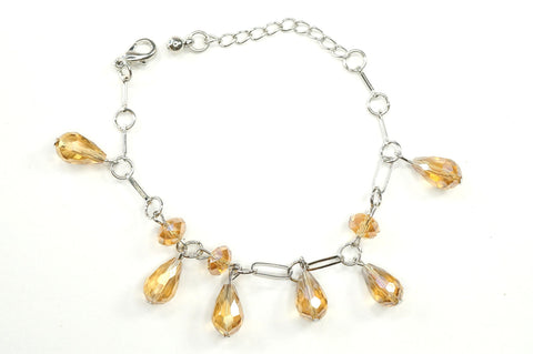 Yellow Color Crystal Fashion Jewelry Charm Bracelet