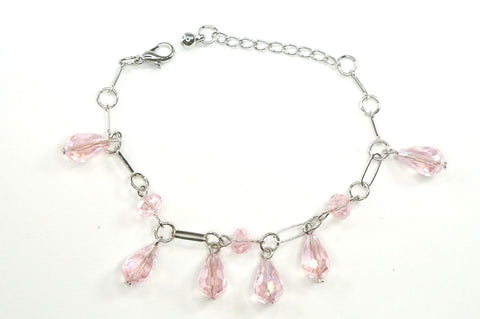 Pink Color Crystal Fashion Jewelry Charm Bracelet