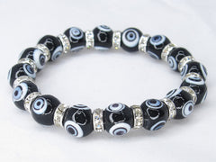 Black Turkish Evil Lucky Eye Murano Glass Bead 10mm Bracelet with Crystal Spacer