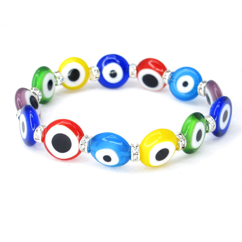 Multicolor Turkish Evil Lucky Eye Murano Glass Bead 12mm Bracelet with Crystal Spacer