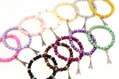 Wholesale Lot of 12 Glass Pearl Bead Crystal Spacer Eiffel Tower Charm Bracelets