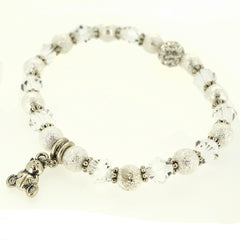 Silver Stardust and Clear Crystal Bead Silver Tibetan Spacer Bear Charm Bracelet