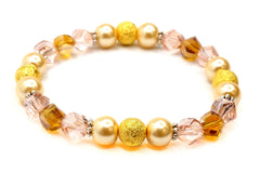 Gold Stardust Glass Pearl Bead Pink Topaz Crystal Silver Tibetan Spacer Bracelet
