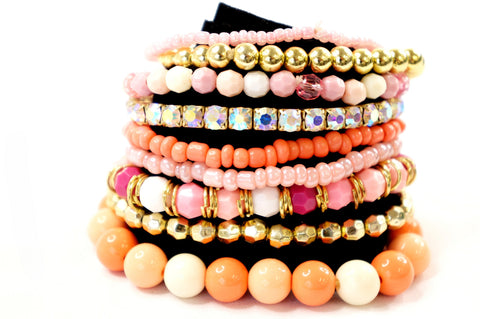 Mix n Match Orange Pink Gold Color Beads Jewelry Fashion Bracelet Set, Pack of 9