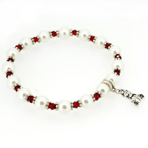 Red Crystal and White Glass Pearl with Bear Charm XMAS Fashion Jewelry Bracelet