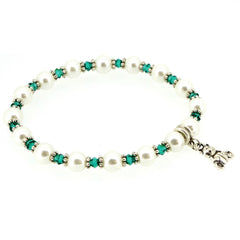 Green Crystal n White Glass Pearl with Bear Charm XMAS Fashion Jewelry Bracelet