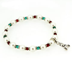 Red and Green Crystal White Glass Pearl Bear Charm XMAS Fashion Jewelry Bracelet