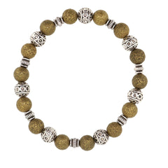 Handmade Antique Bronze Stardust with antique silver tibetan style beads stretch bracelet